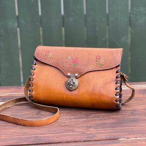 Vintage Tooled Leather Mushroom Crossbody Purse